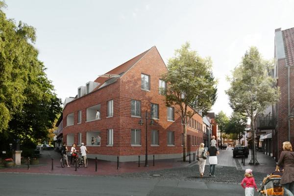 Mehrfamilienhaus in Borghorst: Visualisierung der Giebelseite
